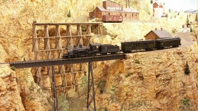 Impressive steel trestle on the new C&RM model railroad.