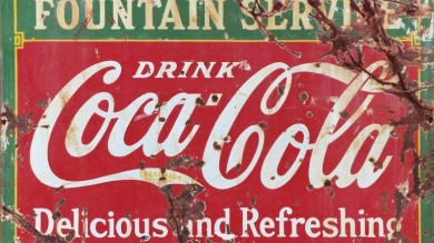 Coca-Cola Fountain Service Weathered Metal Sign