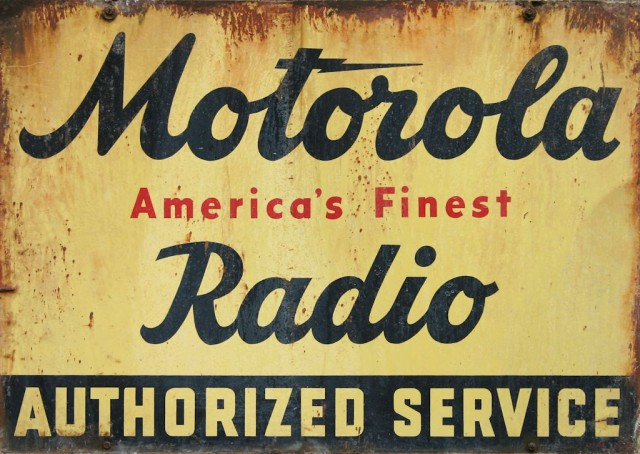 Motorola Radio Service Weathered Metal Sign