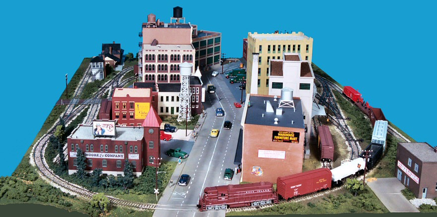 Gateway central x 4x6 foot small ho scale city model railroad layout gateway nmra - Ho train layouts for small spaces image ...