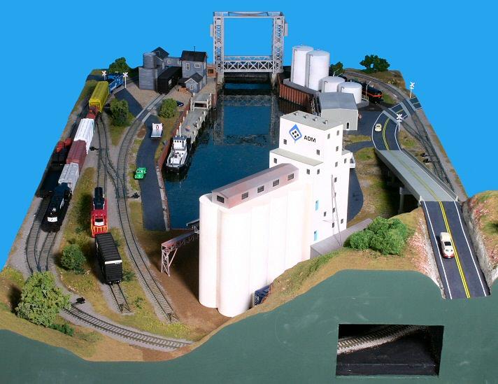 Riverport theme ho small model railroad layout gateway for Hillside elevator kit