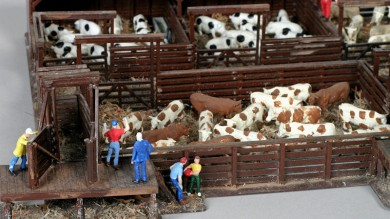 Close-up of model railroad stockyard and painted cattle.