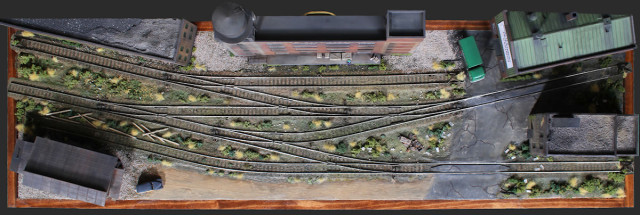 Overhead View of the Gateway Central XV HO Scale Switching Model Railroad