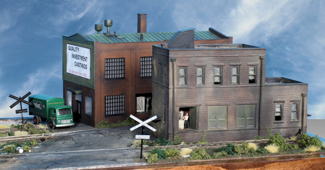 Buildings on the Right Side of the Gateway Central XV HO Scale Switching Model Railroad