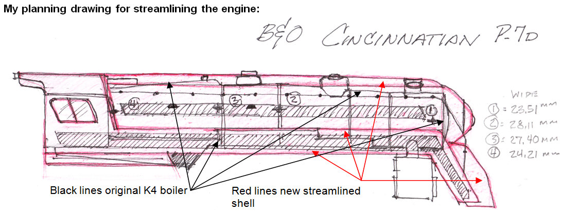 "Planning drawing for streamlining a B&O P-7d 4-6-2 ""Cincinnatian"" HO model engine."