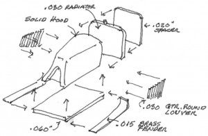 Construction drawing for the Mack Model AC Railbus model hood.