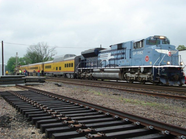 Union Pacific's Operation Lifesaver train makes a call at Pacific, MO, on a rainy morning.