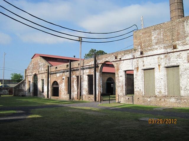 "Outside walls of repair complex illustrating the ""Savannah gray brick."""