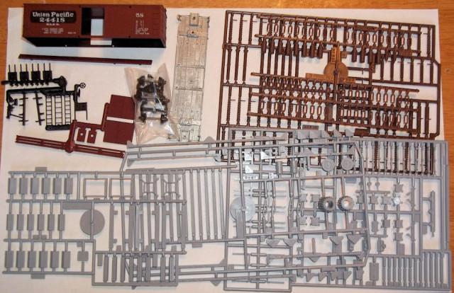 The parts from the two kits.