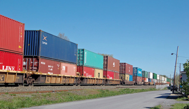 Long line of colorful stacks headed east at Lilly, PA.
