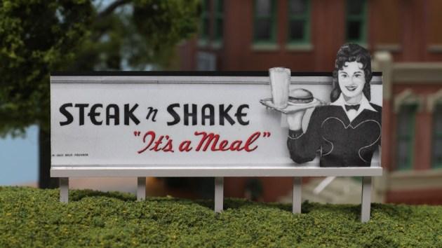 Completed Steak 'n Shake Model Railroad Billboard