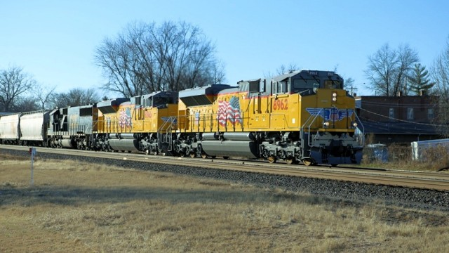 Eastbound mixed freight at Pacific, Missouri.