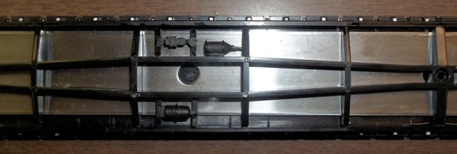 Underframe with brake components added.