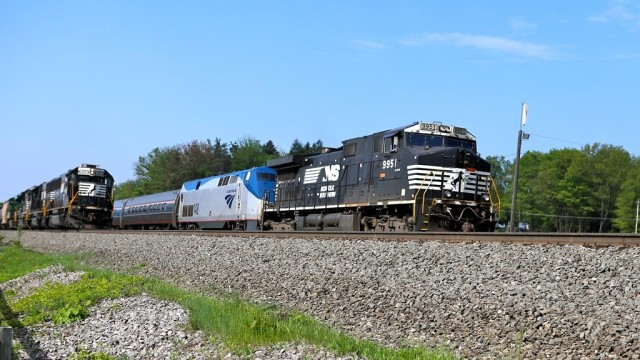 While the freight in the previous photo was stopped, the morning Amtrak Pennsylvanian, on its way from Pittsburgh to New York City, needed an assist from Norfolk Southern, thus, an unfamiliar site of an NS freight engine on the lead.