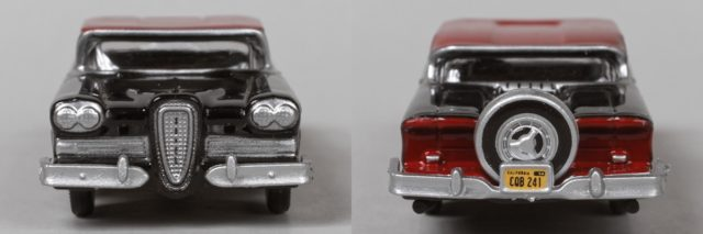 Front and Rear of the Oxford Diecast HO Scale 1958 Edsel Citation