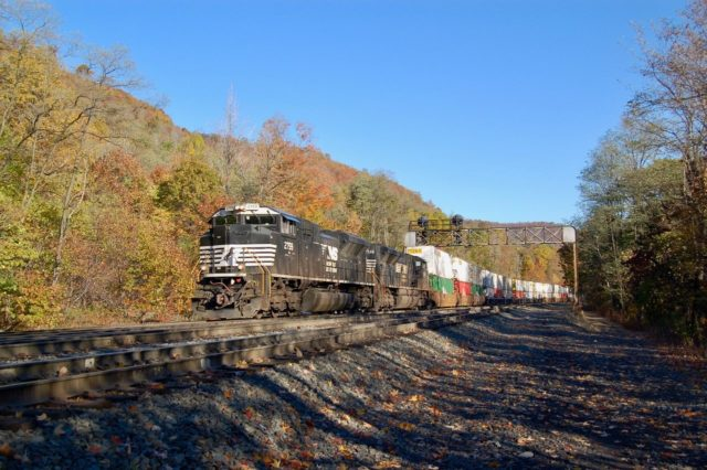 This is at MG, halfway down the mountain between Gallitzin and Altoona, Pennsylvania. It is a couple of miles before the train starts around the world famous Horseshoe Curve. This is a highly desired location for rail photographers visiting the Horseshoe Curve.