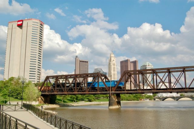 Downtown Columbus, Ohio in background.
