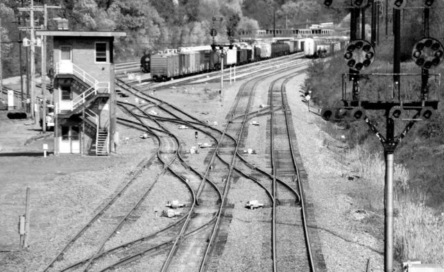 Track maze at Mexico Tower (now closed) at the east end of the Cumberland, Maryland yard on the CSX line.