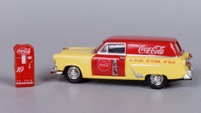 Mini Metals 1953 Ford Coca-Cola delivery sedan with a vending machine.