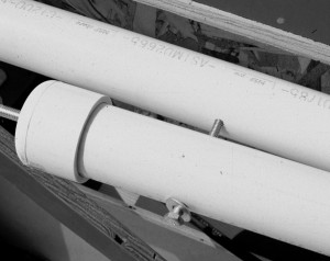 The PVC pipe legs fold together for transportation.