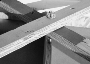 Plywood cross-supports are used.