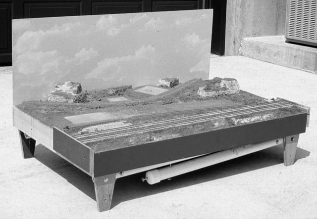 HO scale module showing backdrop.