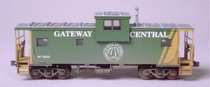 Custom painted Gateway Central caboose, relettered from an Atlas NP model