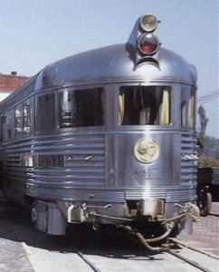 Observation car of the Mark Twain Zephyr showing drumhead