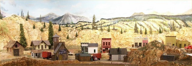 Panoramic view of the town of Richville (under construction) on the new C&RM railroad.