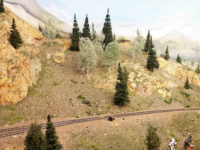 Hillside showing a variety of ground cover materials, including authentic Colorado rock!