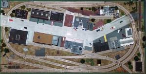 Overhead view of the Missouri Historical Society model railroad layout.