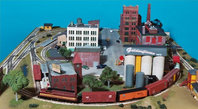 The large buildings in the middle divide the layout into separate scenes.