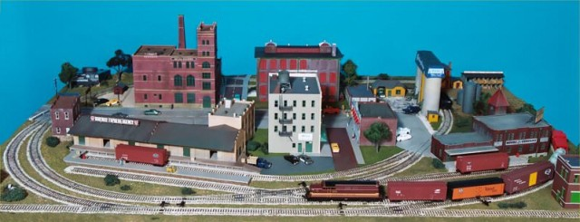 """The """"railroad avenue"""" side of the layout."""