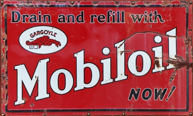 Mobiloil Gargoyle Weathered Metal Sign