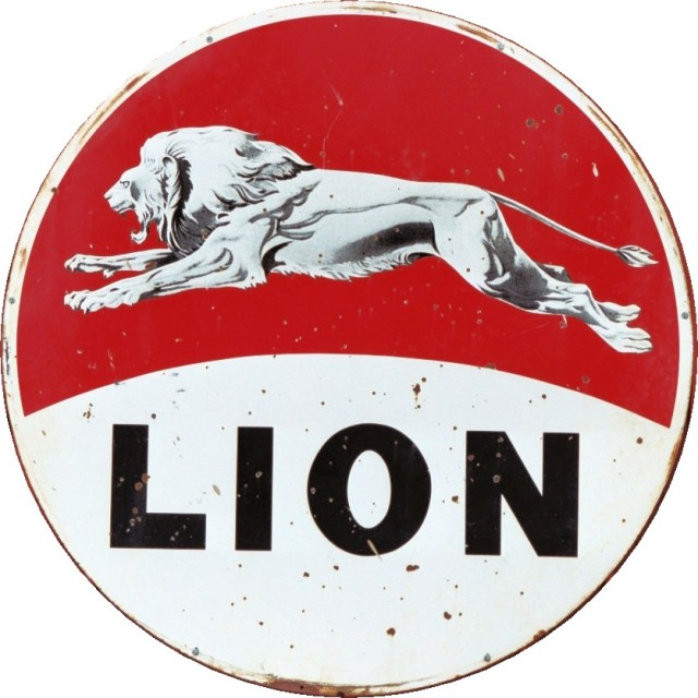 Weathered Lion Oil Metal Sign
