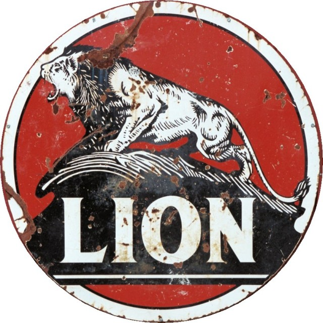 Heavily Weathered Lion Oil Metal Sign