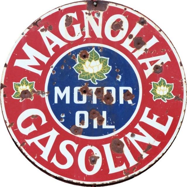 Weathered Magnolia Gasoline Metal Sign