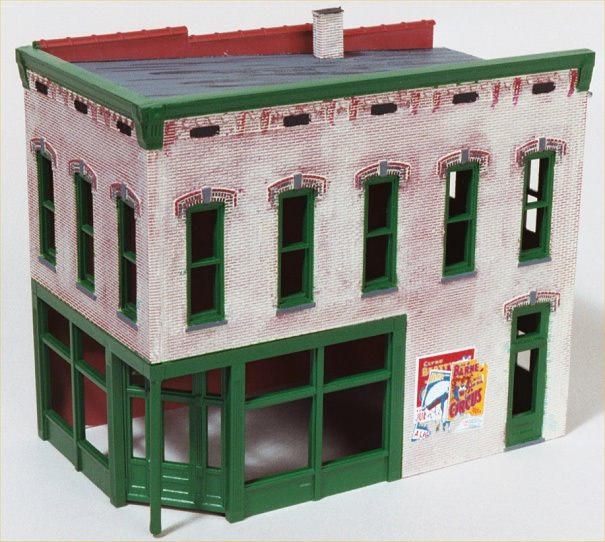 Paint the windows, doors and cornice. Add decals.