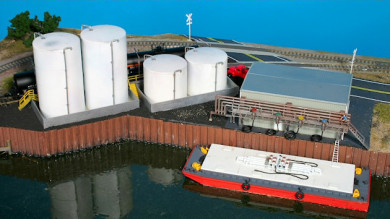 Buildings, Tow Boat, and Structures on the Riverport Small Model Railroad Layout