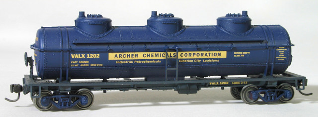 VALX 1202 is a custom painted and decaled Athearn 3-dome tank car .