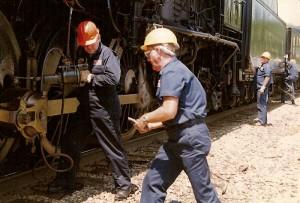 Working on the Frisco 1522 steam locomotive.