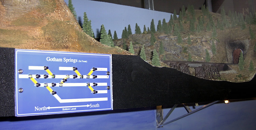 The Silicon Valley's upper deck fascia board has place names, north/south direction indicators, and a track schematic with lighted turnout controls