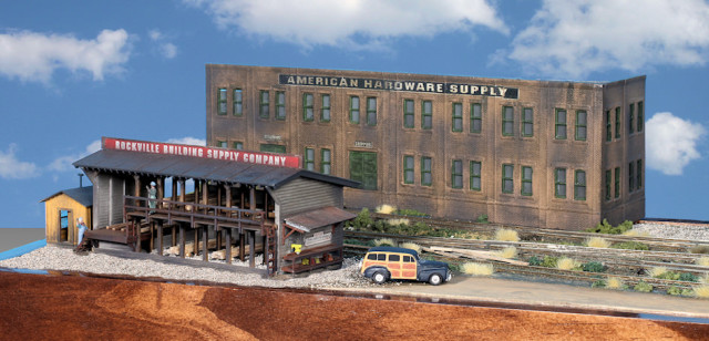 Buildings on the Left Side of the Gateway Central XV HO Scale Switching Model Railroad