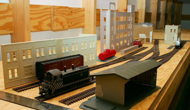 Planning Photo of the Left Side of the Gateway Central XV HO Scale Switching Model Railroad