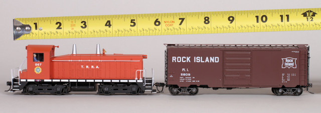 "An HO scale switcher and 40' car is slightly over 12"" long."