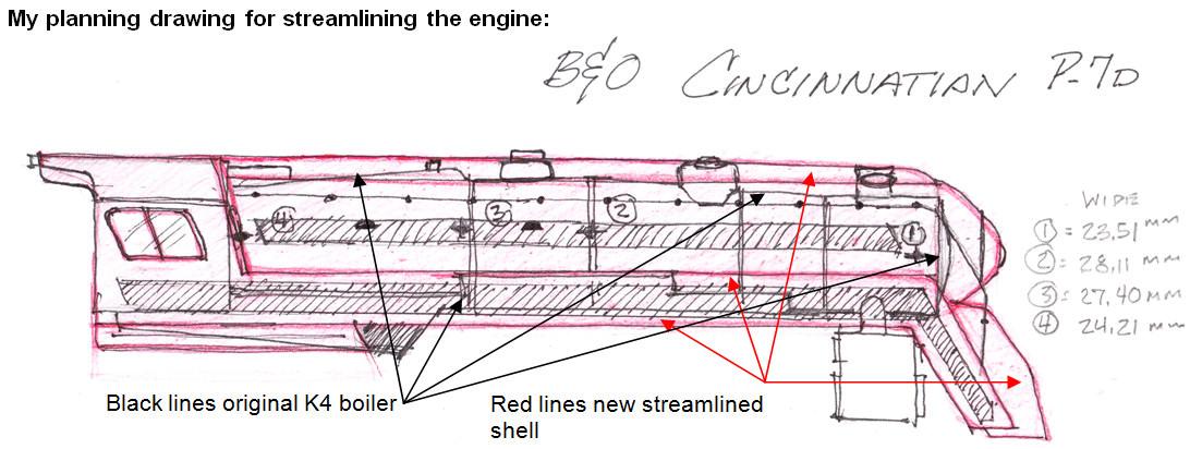 "Planning drawing for streamlining a B&O P-7d 4-6-2 ""Cincinnatian"" HO model engine."