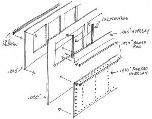 Construction drawing for the Mack Model AC Railbus model walls.