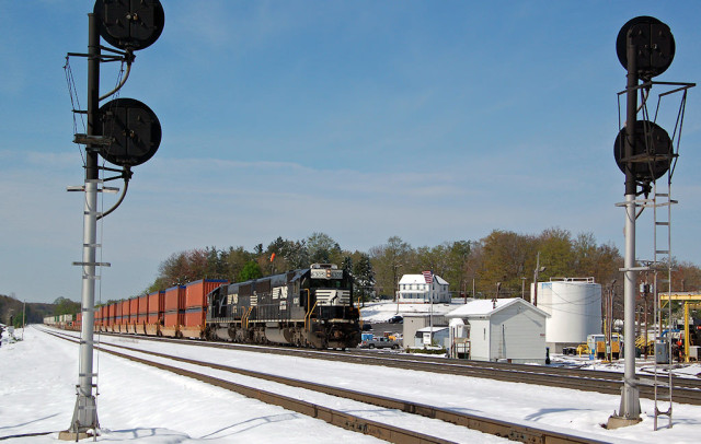 Stack train headed up grade at Cresson on a beautiful winter day ... but it's spring!