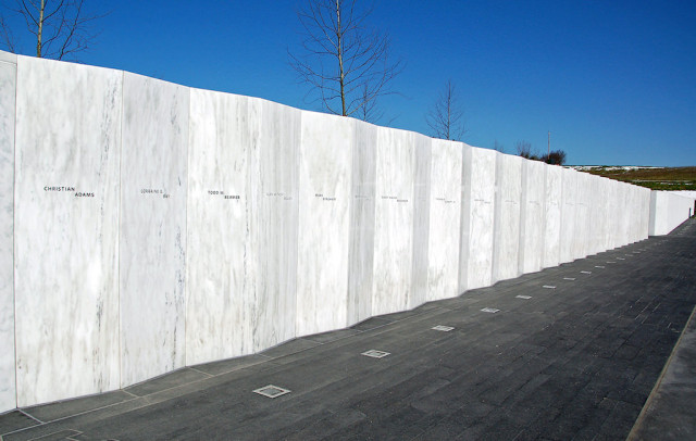 We took one morning and went to the recently dedicated memorial to Flight 93, just an hour's drive from where we stayed. Very sobering. The wall, forty panels in all, each with the name of a passenger or crew member. None of the four terrorists get any recognition. The wall is built right on the flight path of the doomed airliner. Had it stayed airborne two seconds (2 seconds!) longer, it would have cleared a ridge and crashed into a school that was in session.