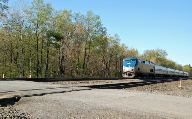 Amtrak's Pennsylvanian, west bound this time, at Carney Crossing, just east of Lilly, PA.